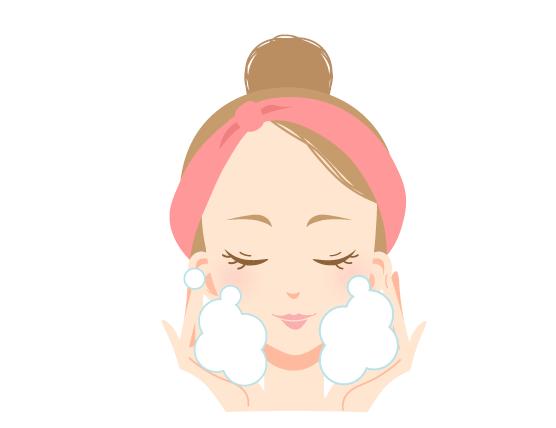 洗顔で汚れを落とす